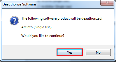 yes button in the deauthorize software window