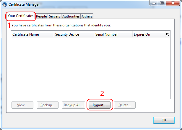 the Your Certificates tab with Import highlighted at the bottom of the window.