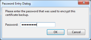 Password Entry Dialog with OK button at the bottom of the window.