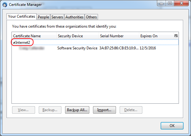 Certificate Manager window with Internet2 highlighted and OK button at the bottom right