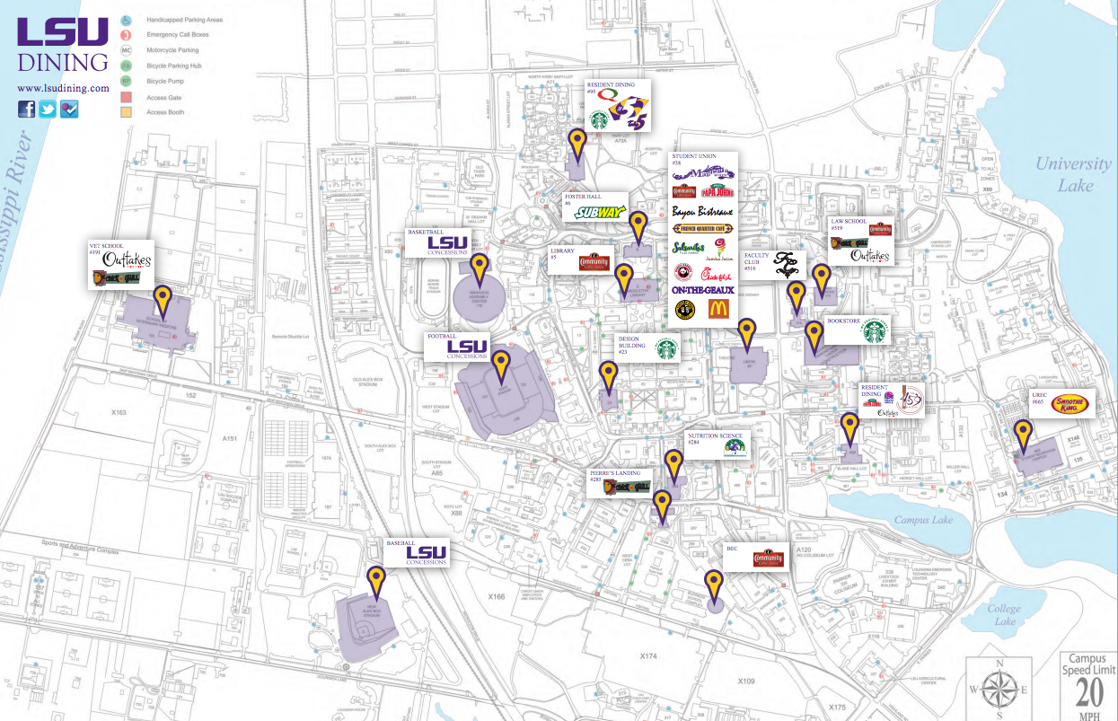 A map of available dining on the L S U Campus