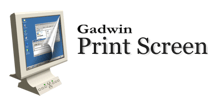 screenshot of Gadwin print screen's logo. There is a computer screen to the left of the image with the words Gadwin Print Screen to the right of it.