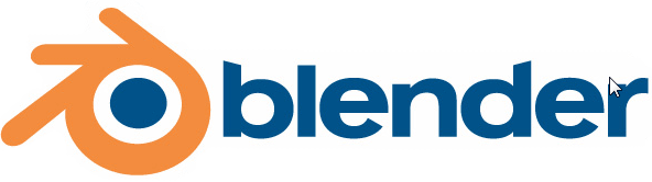 blender logo showing an orange circle with three lines extending from the side of it around a blue sphere, with blender next to it in blue text