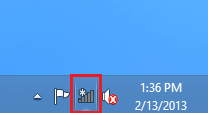 Internet connection icon on the task bar.
