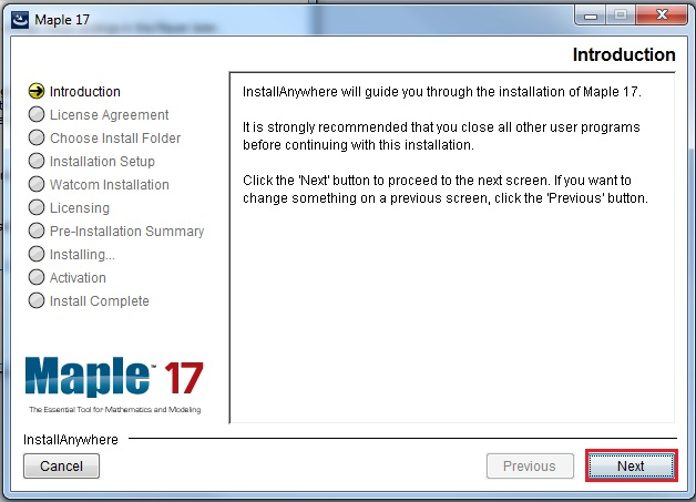 install instructions intro screen with next highlighted