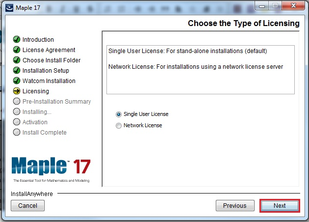 choose licensing screen with single user selected and next highlighted