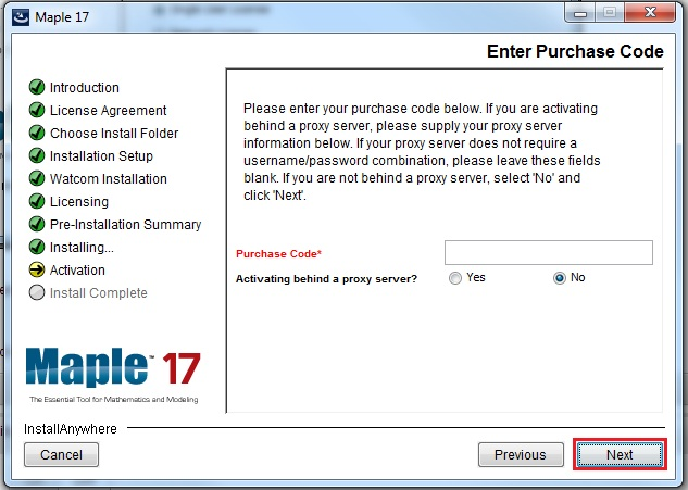 purchase code entry field with next highlighted