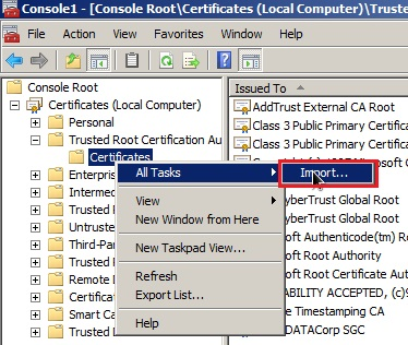 Certificates folder at the left, with All Tasks selected from its right click context menu, with Import option highlighted
