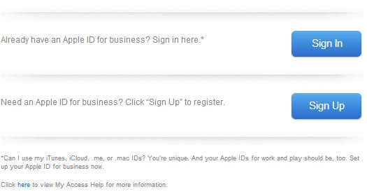 The Sign in or Sign up for an Apple ID screen.