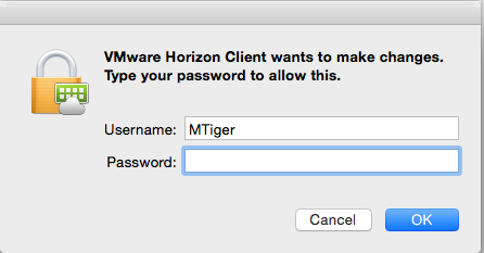 screenshot of the VMware Horizon Client wants to make changes; type your password to allow this.
