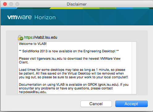 screenshot of the vmware Horizon Terms of Use.  Click Accept.
