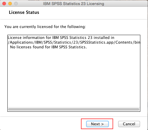 SPSS showing program is not currently licensed.