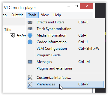 Tools Dropdown menu with Preferences highlighted