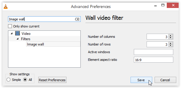 Advanced Preferences Wall video filter Screenshot