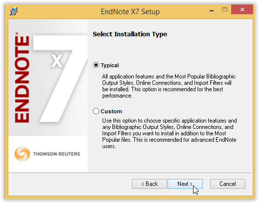 Endnote setup installation type screen
