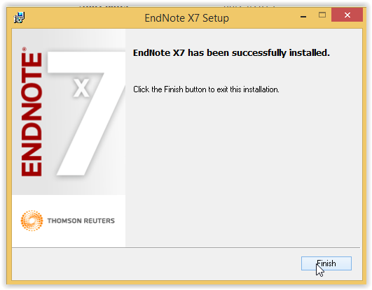 Endnote setup successfully installed screen