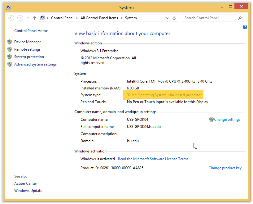 Windows 8(.1) System Information for 32-bit CPU highlighted in the middle of the screen
