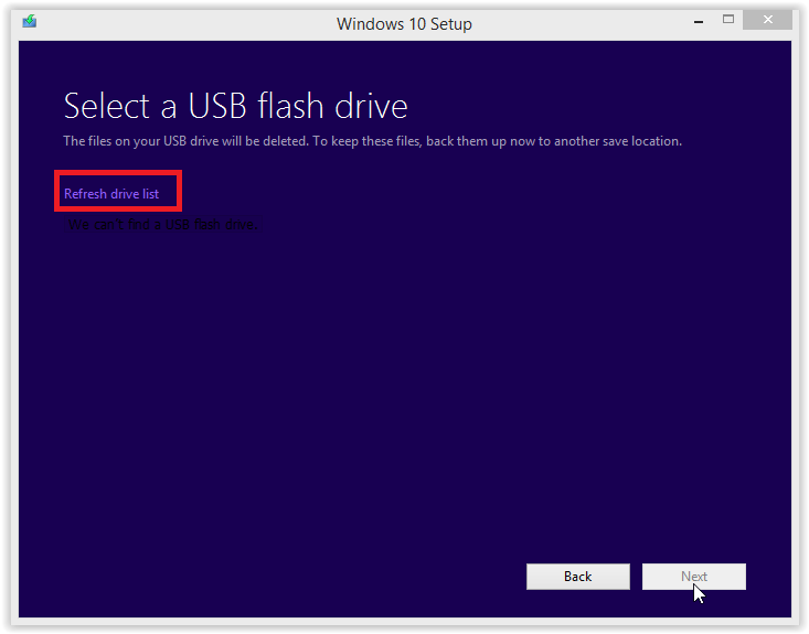 selecting a usb flash drive screen