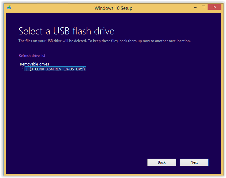 USB flash drive selected.