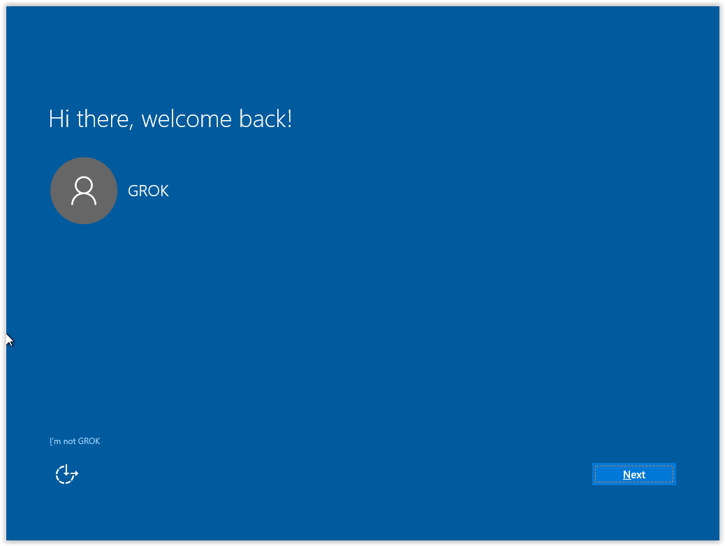 the Hi There and welcome back screen.