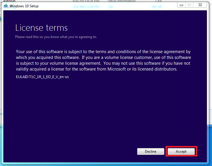 license terms screen