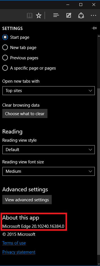 Edge version in the settings window