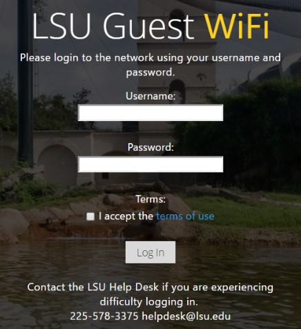 the lsuguest network login screen.