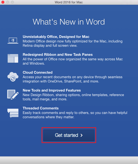The what's new screen with the get started button highlighted at the bottom of the page