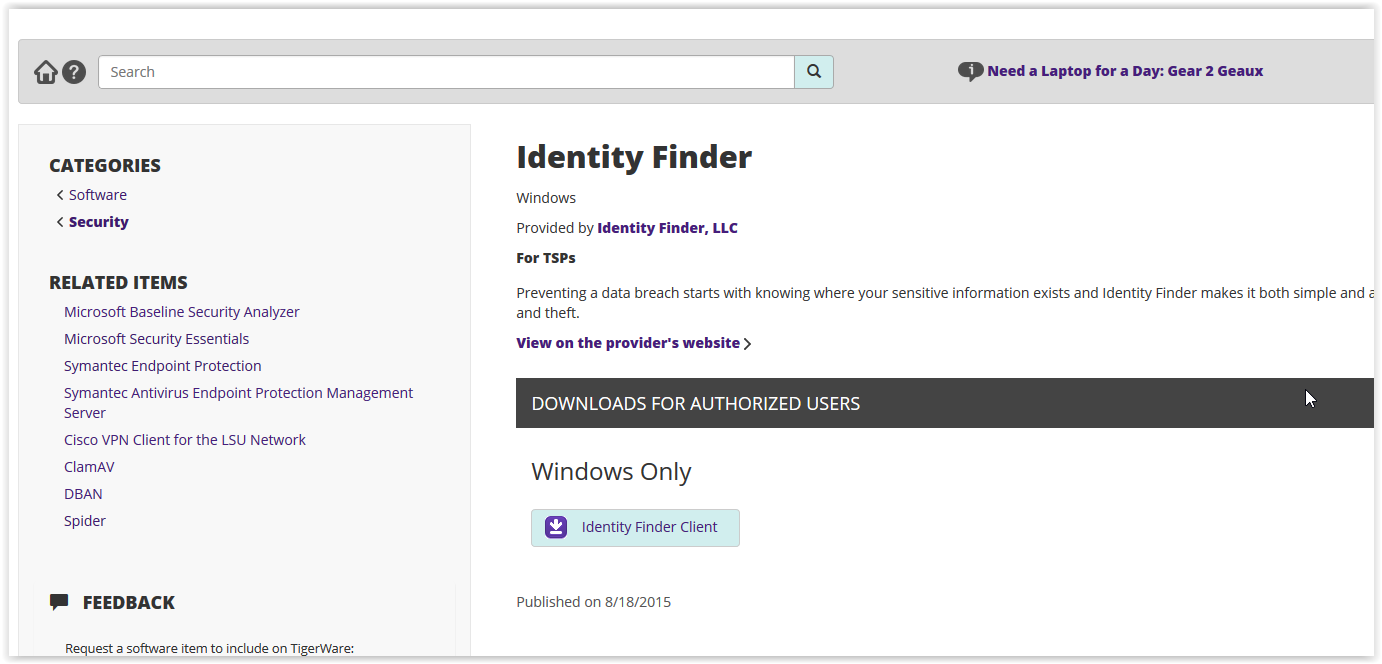 TigerWare Identity Finder download page
