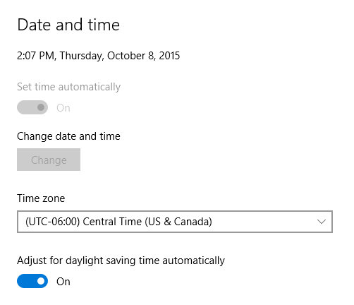 In the Dame/Time settings window, change the time zone to CST
