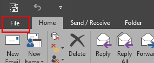 "the ""File"" tab in the top left of the Outlook 2016 ribbon."