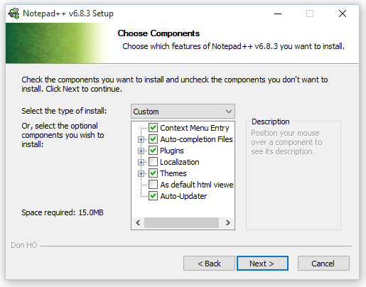 Choose components to install along with Notepad ++