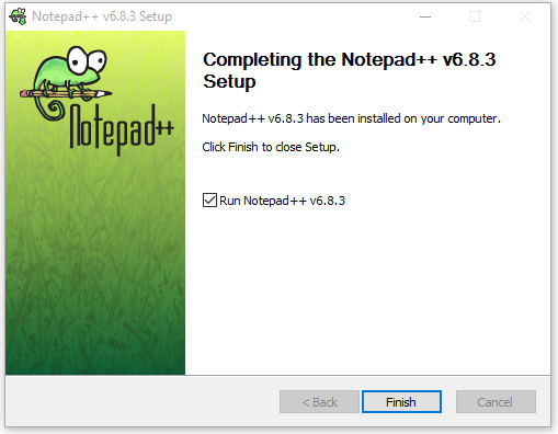finished installation screen of Notepad ++