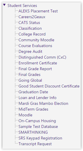 Student Service at myLSU Portal main menu