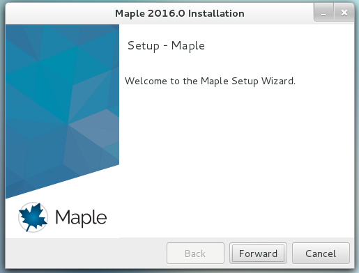 Maple 2016 welcome screen. The forward button is near the bottom right of the window.
