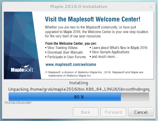 Maple 2016 install window showing a progress bar of the software installation status