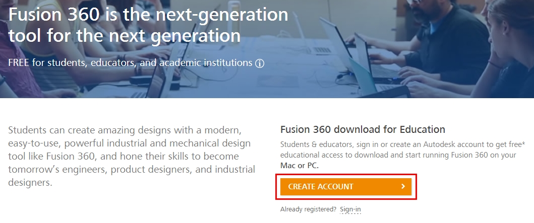 The autodesk website showing the create account button