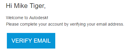 Verify email link for Autodesk account