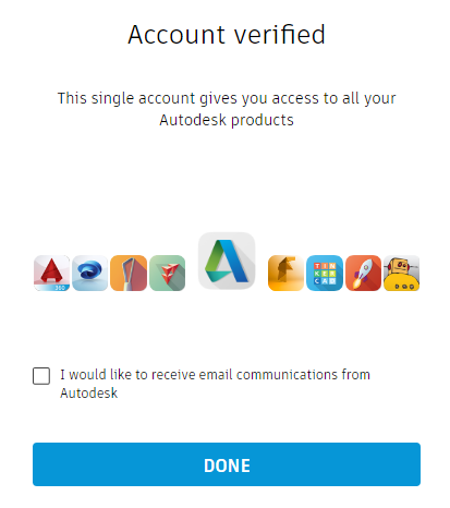 Autodesk Account verification confirmation page