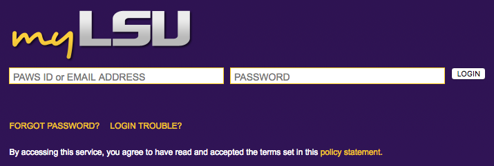 myLSU Log In screen