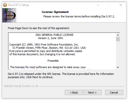 Dia license agreement window