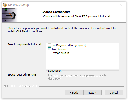 choose components window in Dia installation