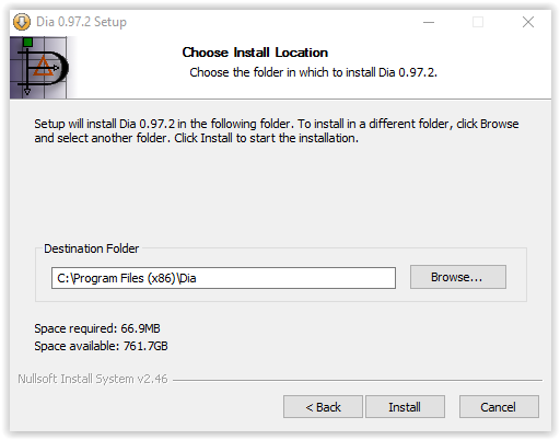 choose install location window for Dia installation