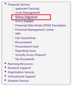 billing statement option on the financial services drop-down menu