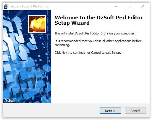 The DzSoft Perl Editor installation welcome screen