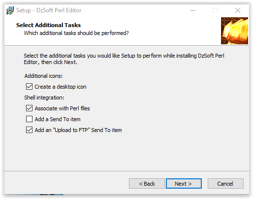 DzSoft Perl Editor select additional tasks window