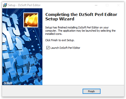The DzSoft Perl Editor Installation complete screen