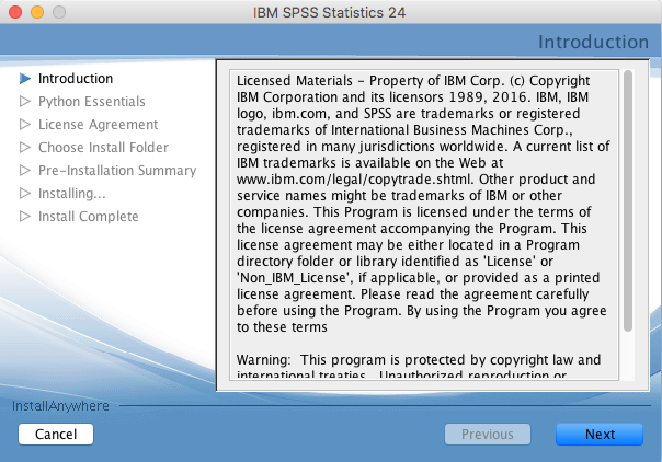 SPSS installation introduction window