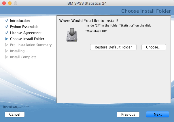 Select where to install SPSS 24