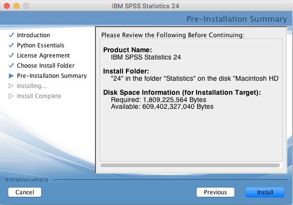 Information review before installing SPSS 24